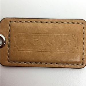 "Coach brown leather engraved  3"" tag"